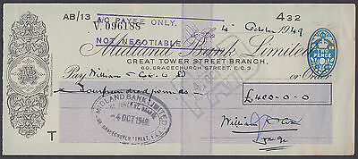 1949 Midland Bank Limited Cheque; Great Tower Street Branch / Gracechurch St