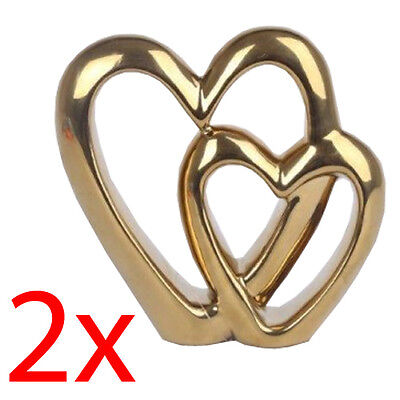 2 X Double Heart Gold Ornament Free Standing Valentine Love Wedding Gift Decor