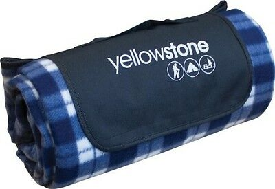 Yellowstone Luxury Fleece Picnic Rug Blanket Mat Blue - Camping Outdoors Beach