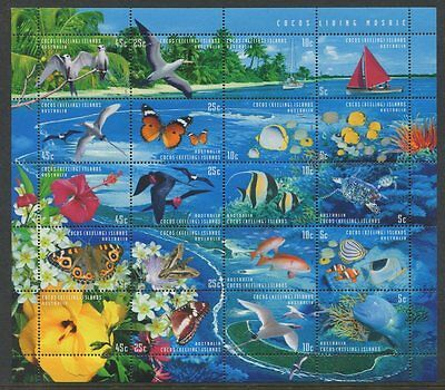 1999 Cocos Island 'Living Mosiac' - Sheetlet of 20 Stamps MUH