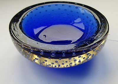 Vintage Blue Glass Trinket Bowl With Bubbles Murano Style