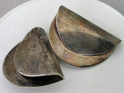Vintage Pineda's TAXCO Mexico Sterling Silver Fold-Over Clip Earrings