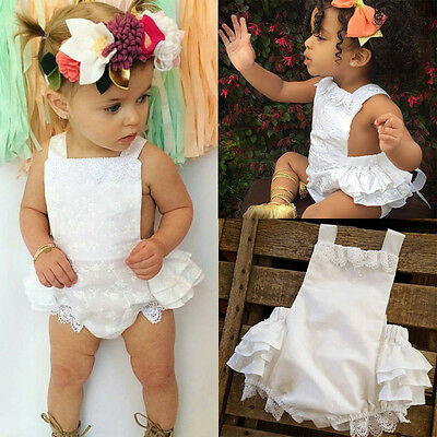 Newborn Toddler Baby Girls Romper Bodysuit Lace Ruffle Jumpsuit Sunsuit Outfits