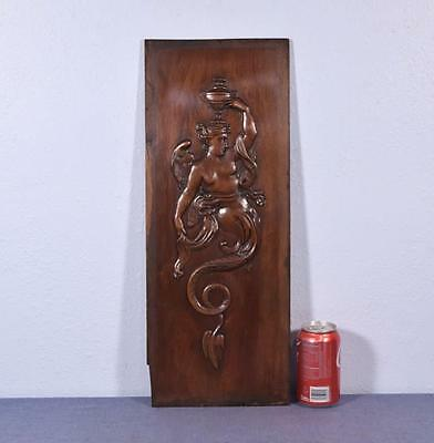 *French Antique Panel in Walnut Wood with Mythological Winged Woman Creature
