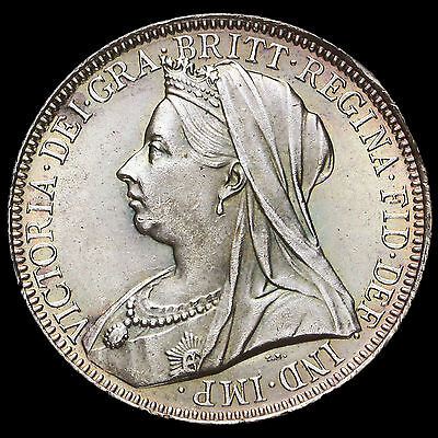 1901 Queen Victoria Veiled Head Silver Florin, BU