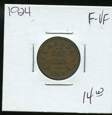 1924 Key Date Canada Small Cent F/VF A917