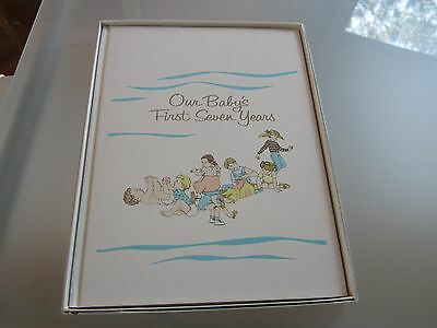 Vintage Our Baby's First Seven Years Book 1978 new BABY BOOK memories WHITE