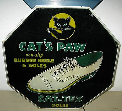 Fabulous Cat's Paw Reverse Glass Lighted Sign w/Marquis Drug Store Gas Station
