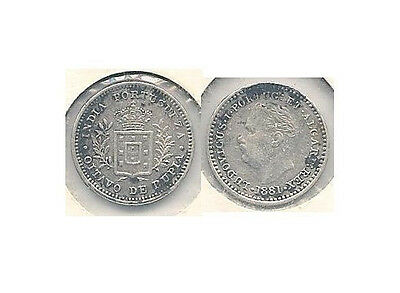 1881 Portuguese India 1/8 Tanga Silver Coin in Extra Fine to Almost Uncirculated