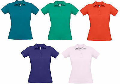 Ladies Polo T Shirt With Collar Pique Cotton Uk 8-16 Safran Brand New