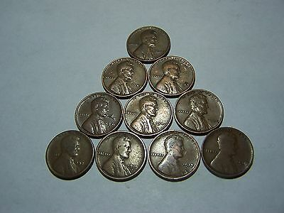 10-Lincoln Wheats 1910 1917 1919-S 1926-D 1937 1940 1941-S 1944-D 1945 1948