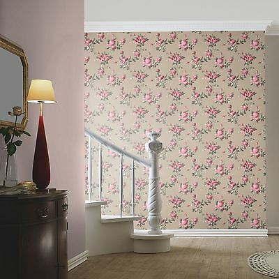 Emilia Rose Floral Wallpaper Gold / Pink - Rasch 502138 Flowers Paste The Wall