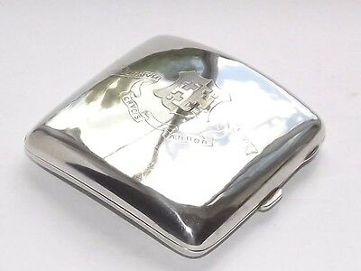 ANTIQUE DENSTONE COLLAGE 92g  SOLID SILVER STERLING CIGARETTE CASE CHESTER 1918