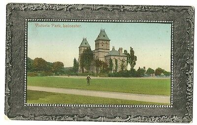 Leicester - a colour-added, photographic postcard of Victoria Park