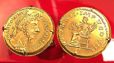 Ancient Roman Marcus Aurelius Aureus 168 AD Rome Gold Plated Coin Cufflinks +Box