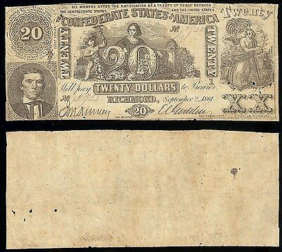 Confederate States of America, Cr.T-20/131 $20 1/FIRST, Sept 2, 1861  F