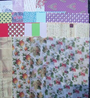 assortment of A5 backing papers/card/vellum/embossed card---20 sheets--