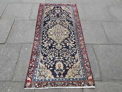 Old Traditional Hand Made Persian Rug Oriental Wool Blue Rug Runner 184x88cm
