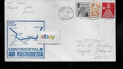 Continental Air Micronesia First Flight Cover Honolulu/okinawa 5/19/68 727-100