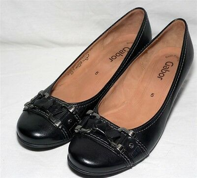 Ladies Gabor Low Heel Black Leather Slip On Shoes - Size 5 Uk / 38