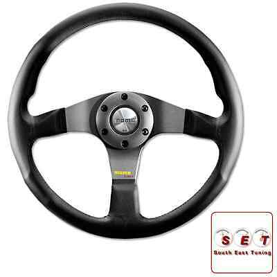 Momo Steering Wheel Tuner 350mm Black Leather with silver centre