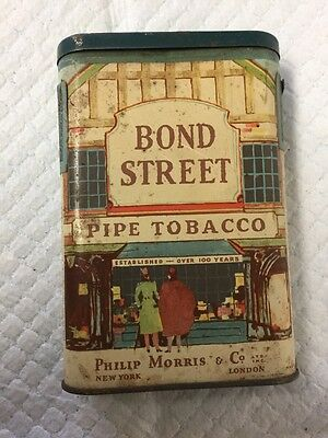 Vintage Bond Street Pipe Tobacco Tin Philip Morris Hinged Top Revenue Stamp FINE