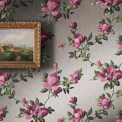 Emilia Rose Floral Wallpaper Silver / Pink - Rasch 502169 Paste The Wall