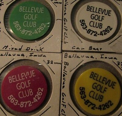 Lot of 4 different Bellevue, IA Golf Club Plastic Trade Tokens - Iowa
