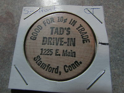 Vintage Tad's Drive-In Stamford, CT Wooden Nickel Token - Connecticut Conn.
