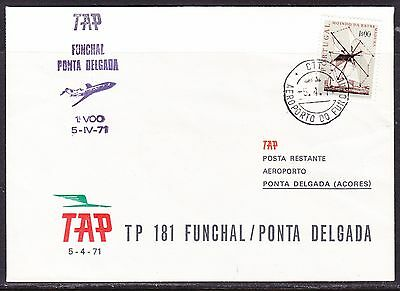 Portugal 1971 TAP  Airways TP 181  Funchal to Ponto Delgada  Flight Cover