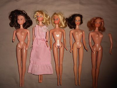Vintage Barbie Lot Of 5 Mattel Dolls ~Tnt~Walking~Sweet 16~Quick Curl Kelly