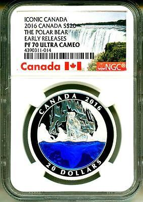 2016 Canada $20 Iconic Canada The Polar Bear Early Release NGC PF70 Ultra Cameo