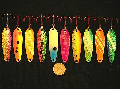 """2 5/8"""" Walleye Trout Salmon Trolling Spoons Downrigger Fishing Lures"""