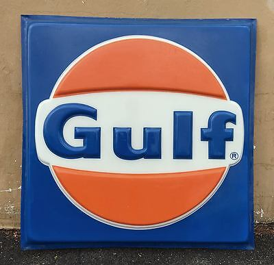 Vtg 48 x 48 Square Plastic Backlit GULF GAS STATION SIGN Insert, Nice Condition!