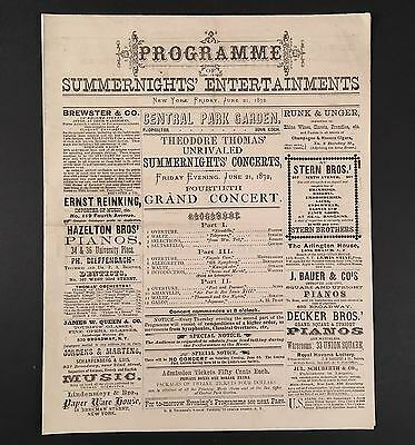 June 21, 1872 Koch's CENTRAL PARK GARDEN NYC Programme THEODORE THOMAS ORCHESTRA