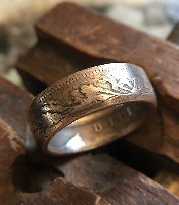 1890 20-Reis Portugal Coin Ring | Copper Patina | Size10 Handmade Emperor Wreath