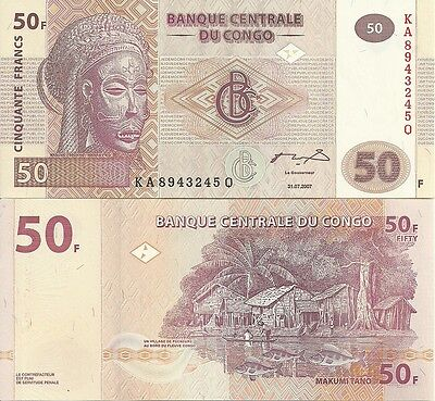 F-01-3, CONGO 50 FRANCS 2007 P-95, UNCIRCULATED>lower price<