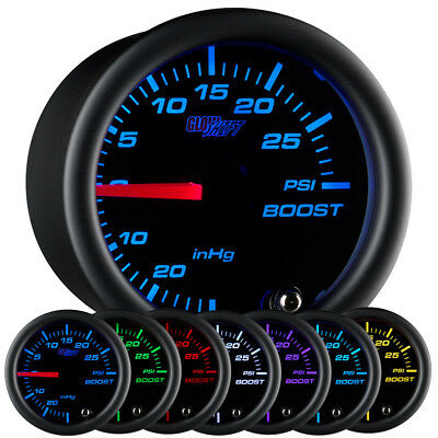 GlowShift 52mm Black 7 Color Turbo Boost PSI Pressure Gauge w. Clear Lens
