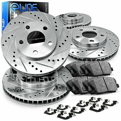 For 2006-2011 Buick Lucerne Front Rear Drill Slot Brake Rotors+Ceramic Pads