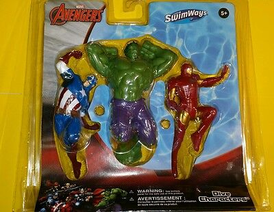 Avengers Dive Characters, Swimming Pool Diving Toy Underwater Water Marvel New
