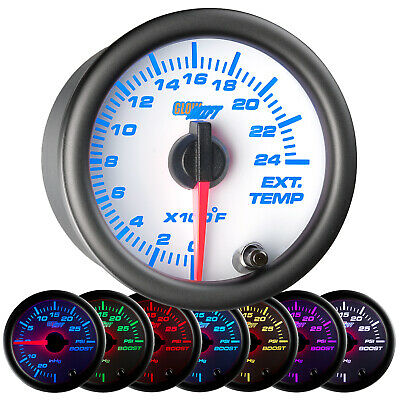 52mm GlowShift White 7 Color Exhaust Gas Temp EGT Diesel Gauge w 2400°F Readout