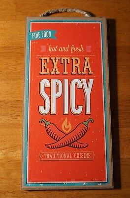 EXTRA SPICY Red Chili Pepper Southwestern Mexican Kitchen Home Decor Sign NEW