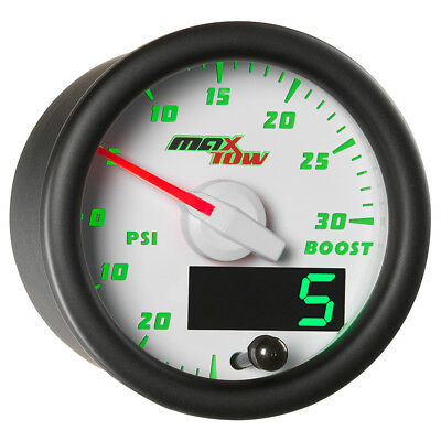 White MaxTow 52mm Turbo Boost Vacuum Gauge w Analog & Digital Green LED Readouts