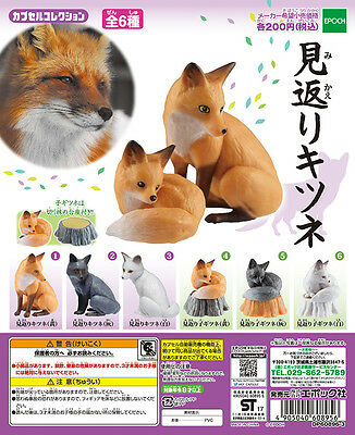 Epoch Capsule Animal Mikaeri Kitsune Fox 見返りキツネ Completed Set 6pcs