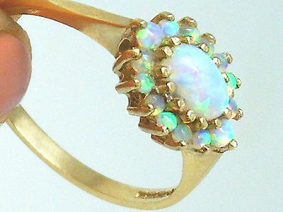 9CT Gold 9K Gold  Fiery Opal Cluster Hallmarked ladies Ring size O