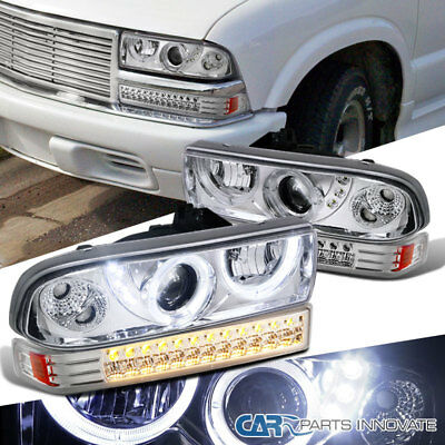 98-04 Chevy S10 Blazer Pickup Clear LED Projector Headlights+LED Bumper Lamps