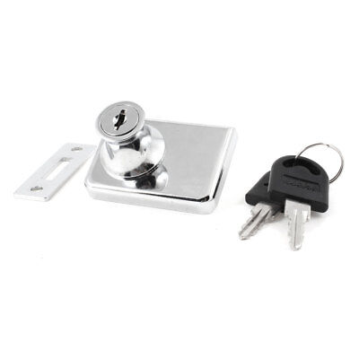 """Silver Tone Metal Keyed Cabinet Lock for 2/5"""" Hinged Glass Door"""