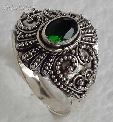 Size 9.5 (US) Gemstone Solid Silver, 925 Bali Handcrafted Ring 32418