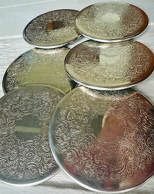 Vintage Strachan silverplate coasters rubber backed great set of six