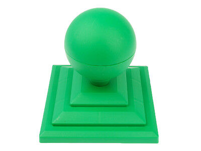"Linic 1 x Green Sphere Round Top Fence Finial & 3"" Fence Post Cap UK Made GT0025"
